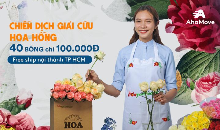 [TPHCM] Giải cứu hoa hồng – Rực rỡ 40 bông chỉ 100.000đ